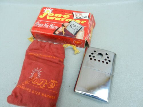 Vintage Jon-E Warmer W/ Box Standard Size Hand warmer Lightly Used Cloth Bag