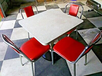 Retro Art Deco Coke Soda Diner Vintage Pedestal Table 4 Red Chrome Chairs