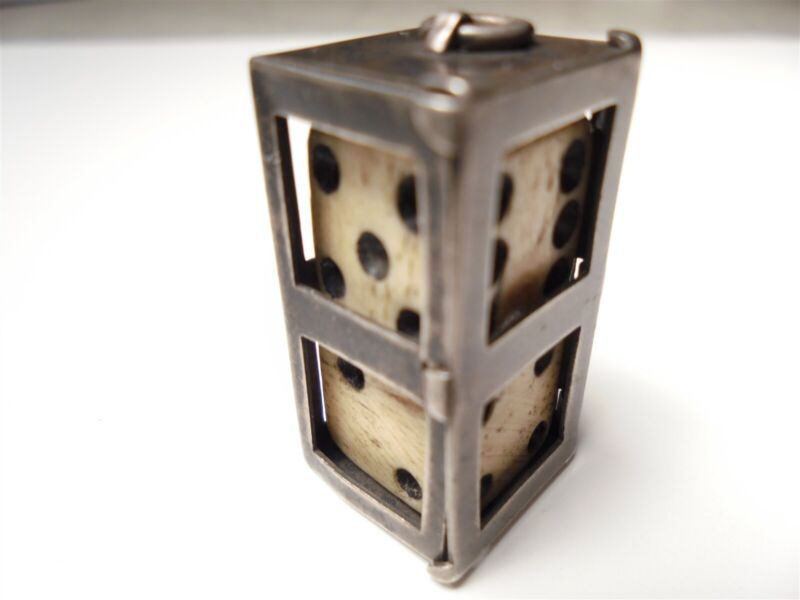 Antique 1920 STERLING SILVER DICE HOLDER w DICE Jewelry FOB Pendant Gambling