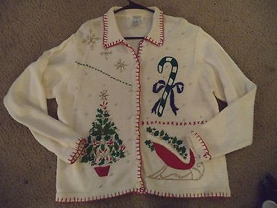 Vintage Womens UGLY CHRISTMAS SWEATER CARDIGAN XL Prize Winner Silver Balls - Ugly Sweater Prizes