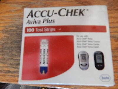 100 Accu Chek Aviva Plus Diabetic Glucose Test Strips Sealed 9/2018 Sealed (A)