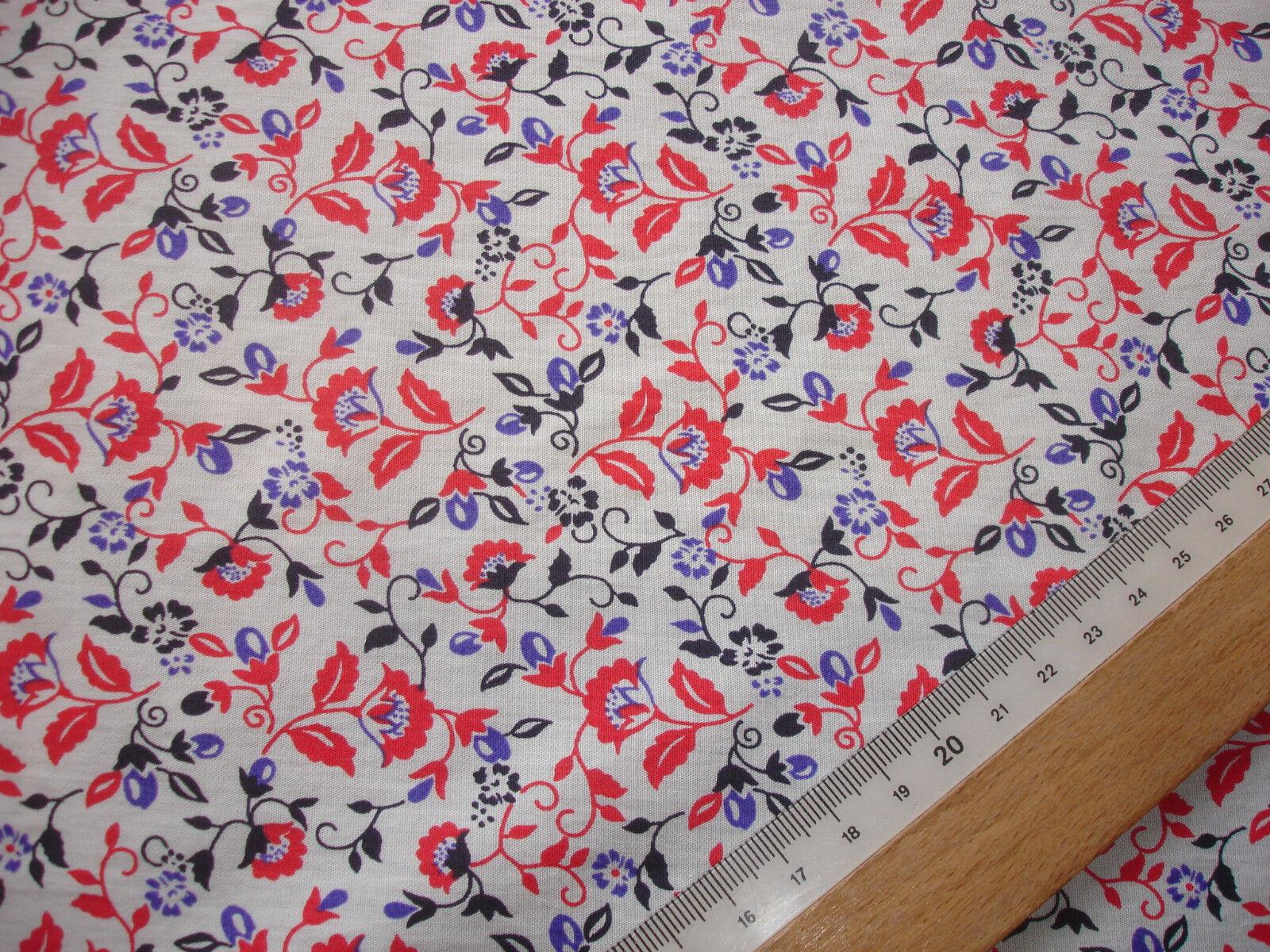 1 Lfm Baumwollbatist 2,93€/m²  rot, blau, schwarz auf weiß 150cm breit  JC24
