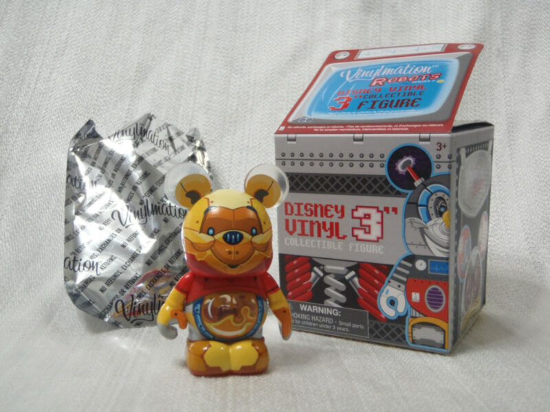Disney Vinylmation Robots #3 WINNIE THE POOH-BOT With Clear Honey Tummy Figure