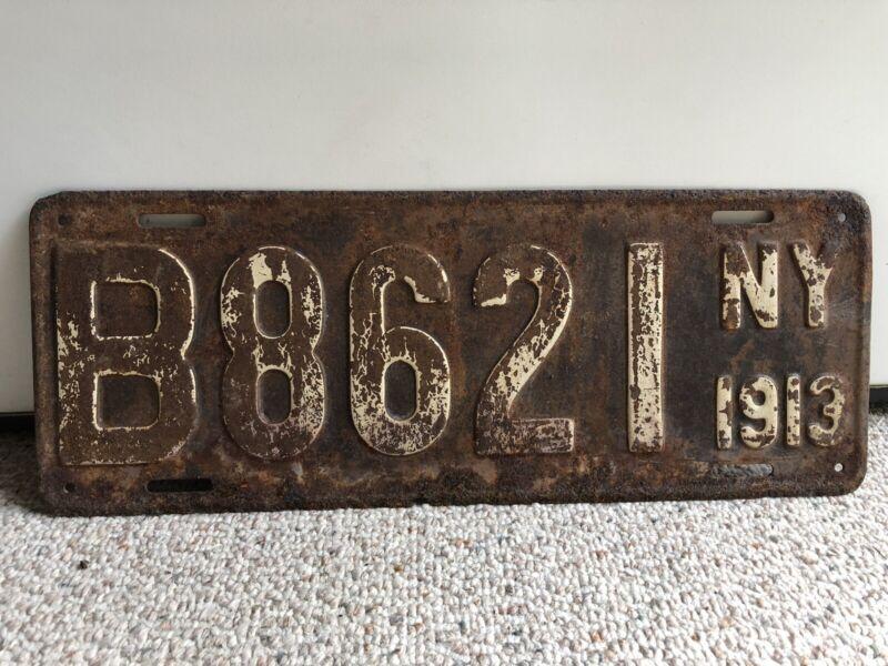 Vintage 1913 New York License Plate