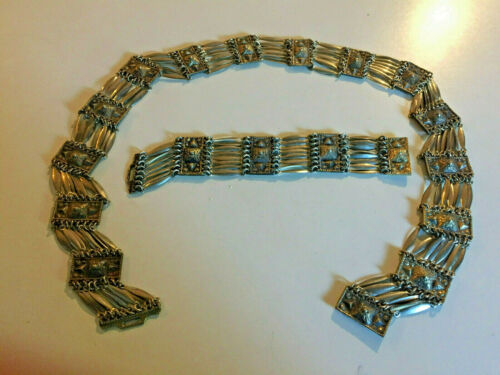 Old Mexican Sterling Silver Belt w/ Matching Bracelet
