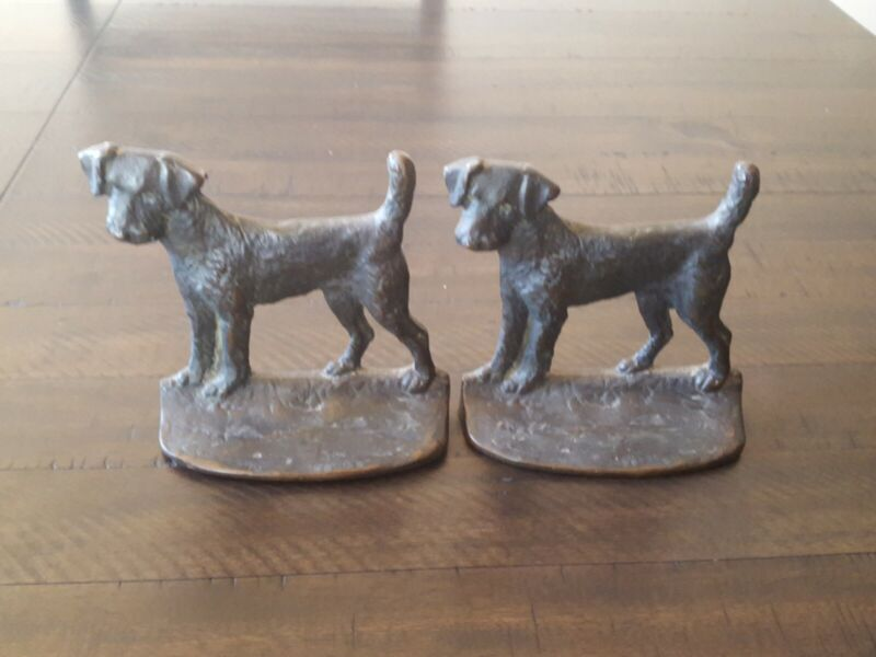 Vintage Bookends Dog  Terrier,Airedale,Fox,Welsh bronze