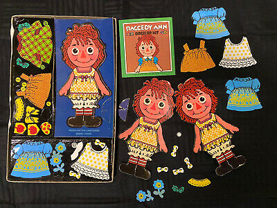 Vintage 1967 Raggedy Ann Dress Up Kit Colorforms EXTRA DOLLS and OUTFITS! RARE!