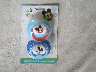 2 Pack Infant Orthodontic Pacifiers BPA free ~ Disney Mickey Mouse Theme