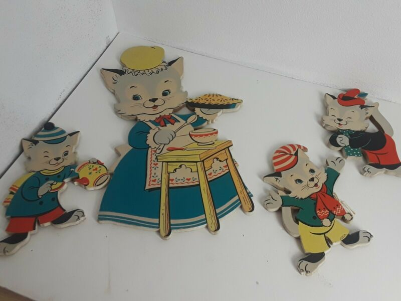Vintage Mother Goose Pin-Ups Three Little Kittens 1955 Dolly Toy Co. No. 289