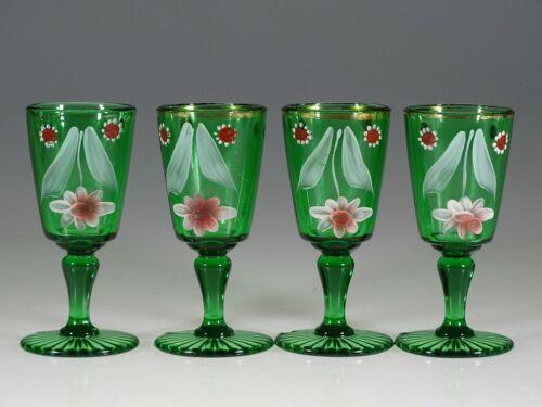 Set of 4 Victorian Green Glass Wine Glasses Handpainted Flowers c.1900