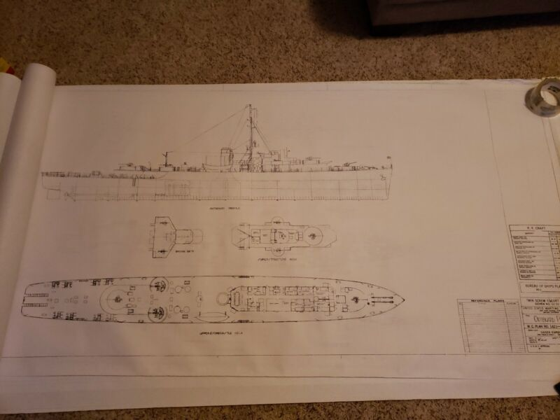 Escort Vehicle blueprint PF PG Frigate gunboat twin screw model ship plan