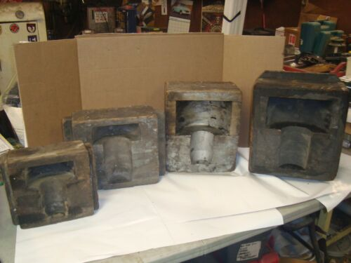 4 VINTAGE WOOD FORMS CAST FOUNDRY INDUSTRIAL STEAMPUNK, MOLDS, FACTORY PRIMITIVE