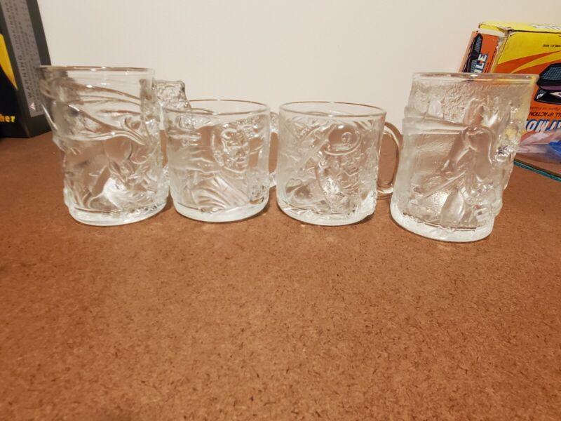 VTG BATMAN FOREVER McDonalds 1995 Lot of 4 Embossed Glass Mugs Cups