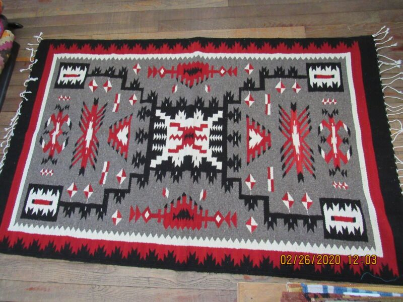 Handwoven Wool Navajo Inspired Storm Pattern Rug, Approx 4x6