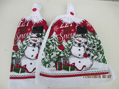 2 Hanging Kitchen Dish Towels With Crochet Tops Christmas Snowman Let It  Snow ()
