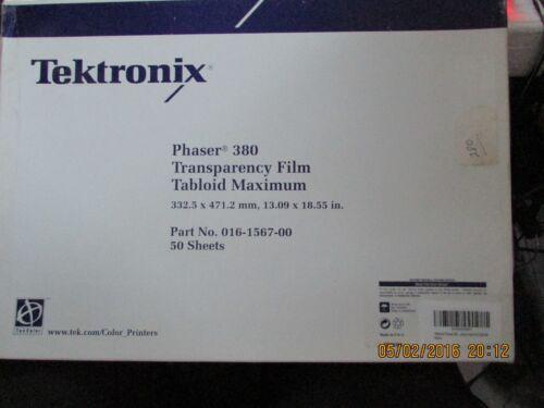 XEROX/ TEKTRONIX TRANSPARENCY FILM/ TABLOID MAXIMUM 13.09 X 18.55 IN.