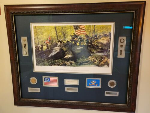 Battle For Little Round Top by Ron Lesser framed with COL Joshua Chamberlain aut