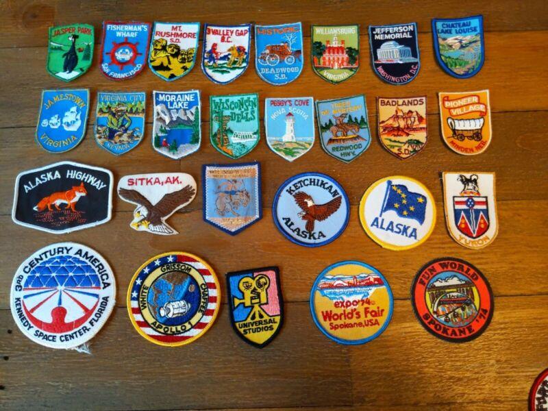 VINTAGE LOT OF 27 TRAVEL SOUVENIR PATCHES Landmarks State Parks USA