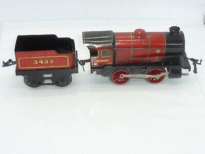 Vintage Hornby O Gauge Red Train Loco & Tender 3435 Clockwork Tinplate working