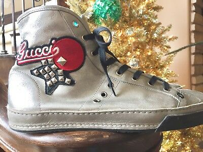 Gucci Limited Edition Silver All Leather High Top Sneakers Us Sz 10 Mens