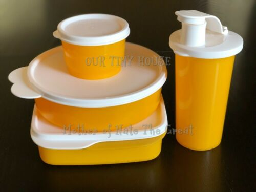 Tupperware Lunch Set Wonder Bowl, Snack Cup, Tumbler, Lunch-It Divided ORANGE