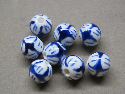 5 Handmade Blue White 10mm Porcelain Beads (bb92i)