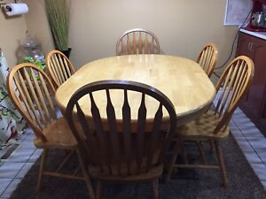 Wooden table and six chairs