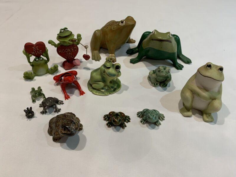"Lot of 13 Assorted Frog Figurines Porcelain, Pewter, Glass 1""-3"" No Damage"