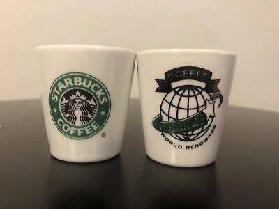 Lot Of 2 Starbucks espresso shot glasses ~ World Renowned And Siren Mermaid