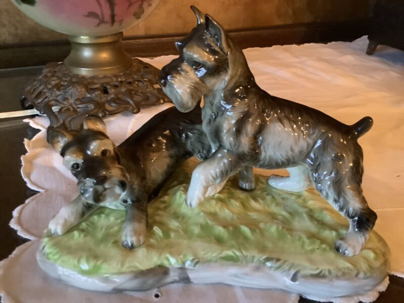 Vintage Shafford Japan Schnauzer Dogs At Play Figurine