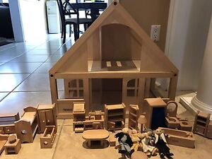 Wooden baby doll house with furniture, dolls