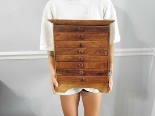 "16 1/4"" Vtg Carved Wood Chest Drawers Spice Apothecary Box"