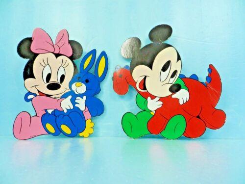 RARE VTG Mid-Century Disney MICKEY & dinosaur & MINNIE Cardboard Wall Plaques