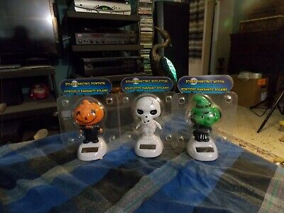 SOLAR DANCING PUMPKIN HEAD SKELETON WITCH Halloween Lot Of 3 NIP ! (Pumpkin Head Halloween Dance)