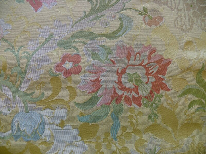 BTY SCALAMANDRE 100%SILK LAMPAS LOUIS XV RED MULTI ON LIGHT YELLOW MSRP$499/Y