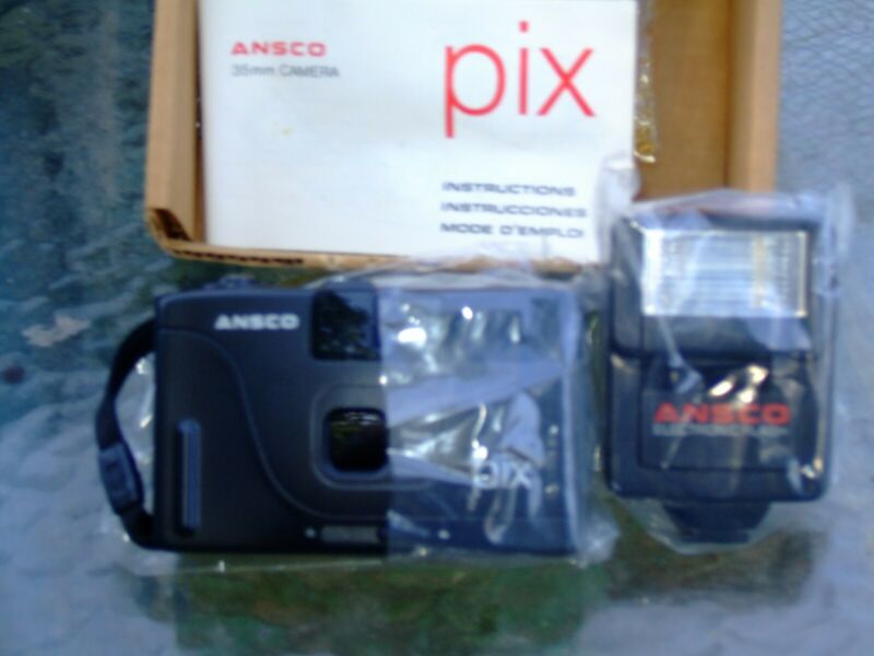 Ansco Pix 35mm Camera Vintage ***NEW** in box w/manual and Flash Bar