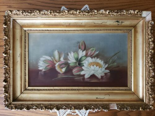 Antique Late 1800 s Pond Water Lily Oil Painting On Canvas Gold Ornate Frame - $147.50