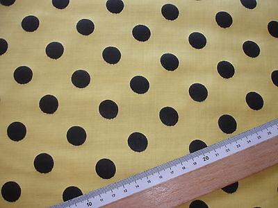 1 Lfm Baumwollstoff 2,63€/m² gelb, schwarz gepunktet  90cm breit DJ4