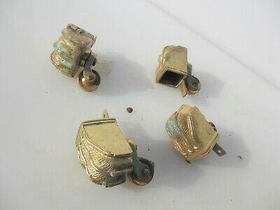 Brass Furniture Castors Trolley Wheels Lion Paw Antique STYLE Old x4