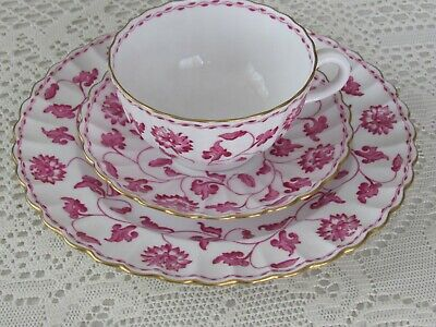 Spode Colonel Pink ? trio cup saucer dessert plate