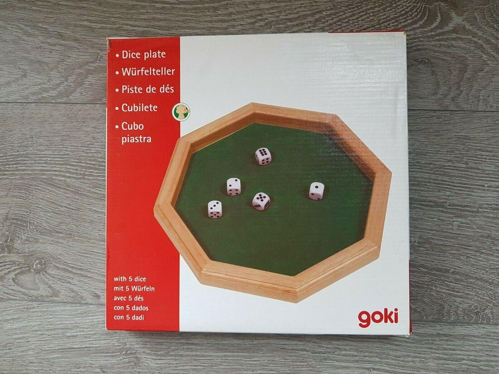Goki 8-eckiger Würfelteller Würfelunterlage Holz Würfelbrett + 5 Würfel wie neu