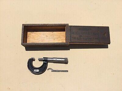 Vintage Starrett  Micrometer 0 - 1 Micrometer W Original Wood Case