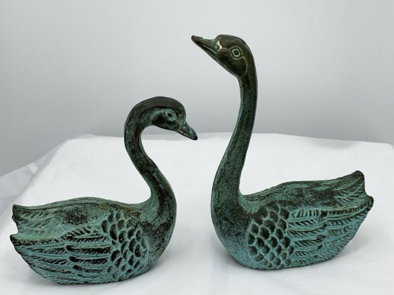 Vintage Pair Of  Solid Brass Swan Statue Figurines Green Patina Handcrafted