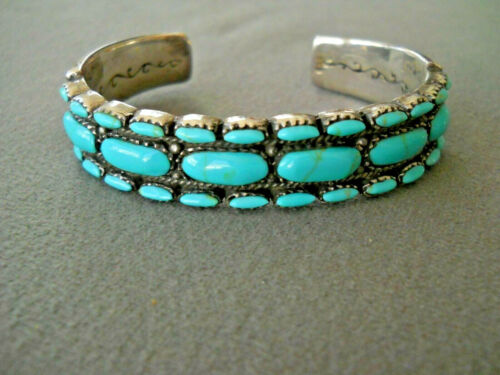 Southwestern Three Row Turquoise Oval Stone Row Sterling Silver Bracelet