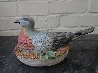 Vintage majolica pigeon on nest tureen