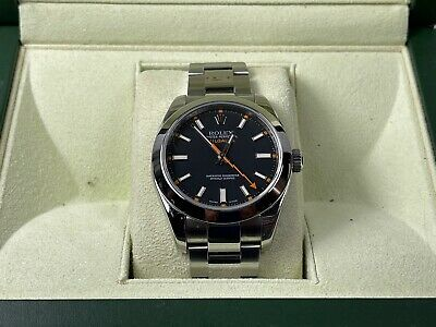 Rolex Milgauss Stainless Steel Black Dial Watch and box 116400