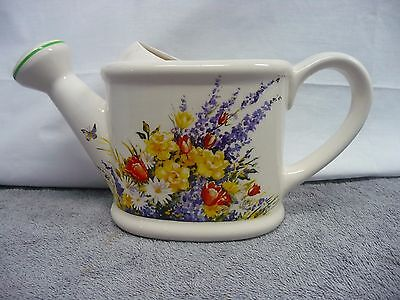 Vintage Teleflora Ceramic Watering Can Vase Decorated With Flowers