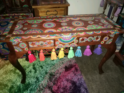 Hall Table . Artist restored FUNKY furniture Boho Boutique.