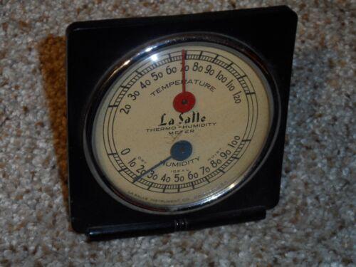 Vintage Original Bakelite La Salle Thermometer & Barometer