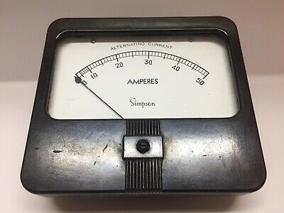 Vintage Simpson Model 59 Amperes Amp Meter 0 To 50